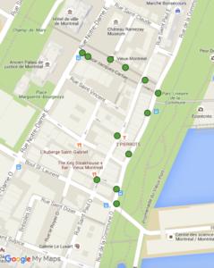 Emplacement géographique des cendriers - Secteur Vieux-Montréal